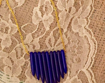 Howlite spike bib style necklace