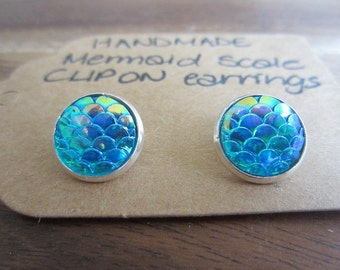 2 pairs of Mermaid  Dragon Scale Earrings - choice of colours