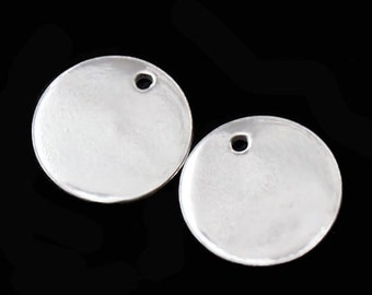 4 of 925 Sterling Silver Round  Disc Tag Charms 10 mm. :th1140