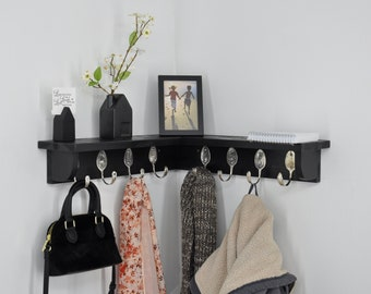 8 Spoon Hooks Coat Rack with Corner Shelf Recycled Silverware