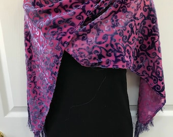 Silk Velvet Scarf, Hand Dyed, Purple over Pink