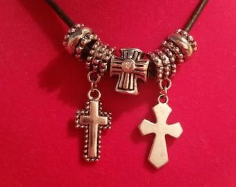 Dangle Cross Necklace - Tibetan Silver