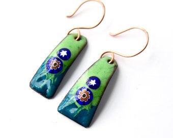 copper enamel drop earrings colorful summer fun earrings handmade millefiori green blue flower hypoallergenic nickel free earrings artsy
