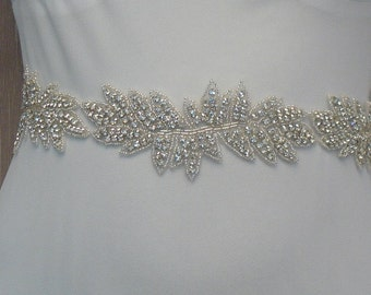 Wedding Rhinestone Sash Attached to a Pure Silk Double Sided Satin Ribbon in Ivory or White - Ships in 1 Week