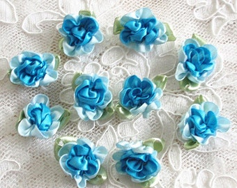 10 Handmade Flowers With Leaves (1 inch, With leaf size 1-1/4)  Blue, Lt blue MY - 035 - 12 Ready To Ship