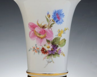 A Meissen Porcelain Vase Decorated With Flowers, C. 1890  Blue Crossed Swords Mark, Impressed No. 31, .  14 Cm High