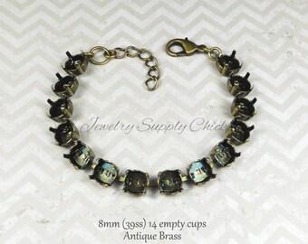 39ss 8.5mm Antique Brass empty cup chain bracelet