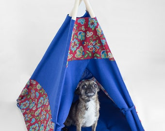 linen pet cat dog teepee, pet tent, cotton cat tipi, dog tent, dog tents, cat dog bed, Pet teepee with linen pillow, linen wigwam