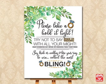 Don't Say Bride, Don't Say Wedding Ring Game, Bling, Printable Bridal Shower Game, Greenery, Botanical Tropical Shower, Instant Download JPG