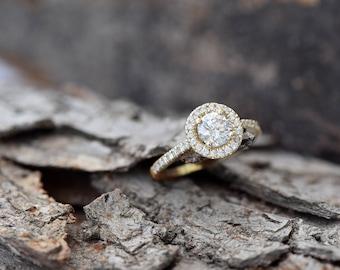 Halo diamond engagement  ring-1 carat Diamond ring-Yellow gold ring-Promise ring-Diamond engagement ring-Art deco ring-FREE SHIPPING