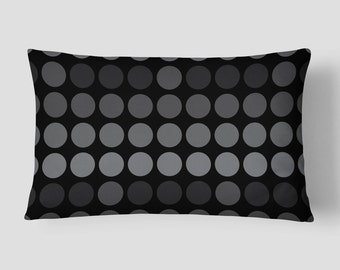 Dots Lumbar Pillow, Black Grey Pillow, Polka Dots Cushion, 14x20 Cushion Cover, Modern Cushion, Cover and Insert, Decorative Pillow