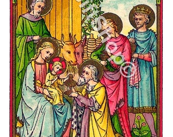 "Icon Nativity Christmas Image of The 3 Kings With Christ Child  5"" X 7"" Print."
