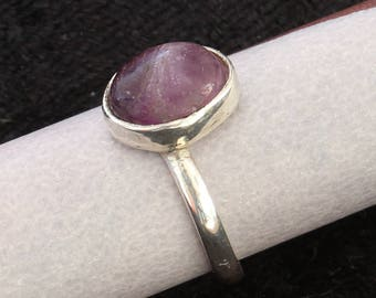 Classic Style Purple Gemstone Silver Stacking Ring