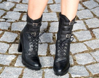 Black genuine leather boots/woman leather boots