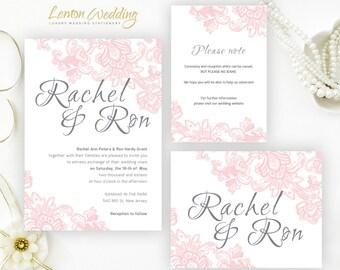 Blush pink wedding invitations printed on shimmer cardstock   Lace wedding invitation cards