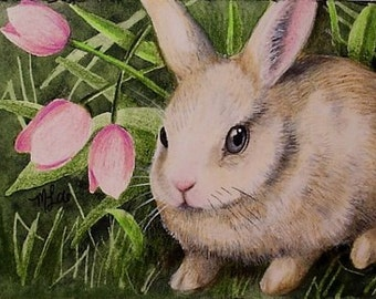 Bunny And Flowers Miniature Art by Melody Lea Lamb ACEO Print