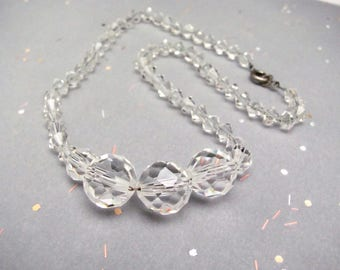 Vintage Crystal Necklace, Mid Century Jewelry, Choker 14 inch, Clear Crystals on Chain Spring Clasp, Wedding Bridal Bride Party Bridesmaid