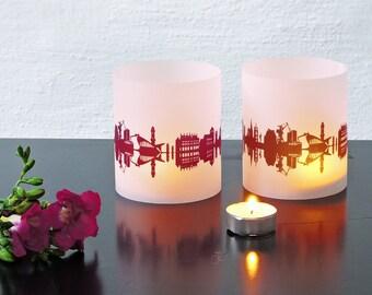 Lantern ROSTOCK city light, 2 Tablelight in fume and plum, for Rostock Lovers, Honeymoon in Rostock, romantic candlelight,City Shade Rostock