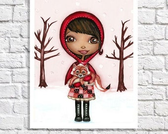 African American Girl Art Baby Girl Room Wall Decor Black Girl Picture Unique Fox Nursery Print Little Red Riding Hood Tween Bedroom Idea