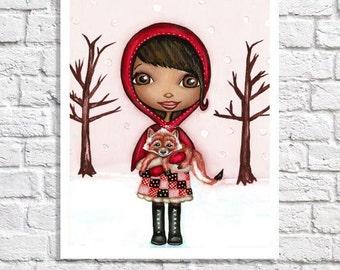 African American Girl Art bébé fille chambre Wall Decor fille noire photo Fox Unique pépinière imprimer Little Red Riding Hood Tween chambre idée