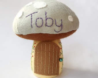 Personalised Tooth Fairy Pillow / Tooth Fairy House / Tooth Fairy Door / Tooth Fairy Pouch / Tooth Fairy Box / Fairy Toadstool - Grey