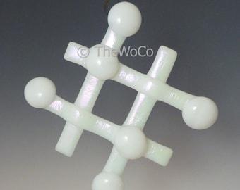 TIC TAC White Iridized Snowflake, Fused Glass Ornament Suncatcher