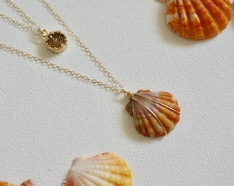 Gold Filled Druzy And Sunrise Shell Layering Necklace