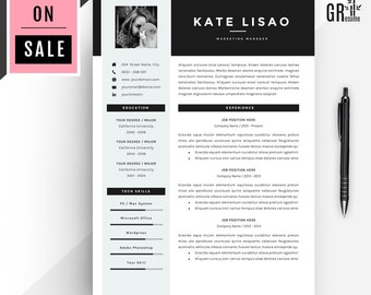 Professional Modern Resume / CV Template for Word (US Letter and A4) 1 & 2 Page CV Template