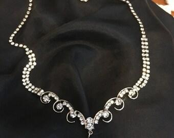 Vintage Rhinestone Necklace Teardrop Design with silvertone  Costume Jewelry Elegant Formal Prom Wedding