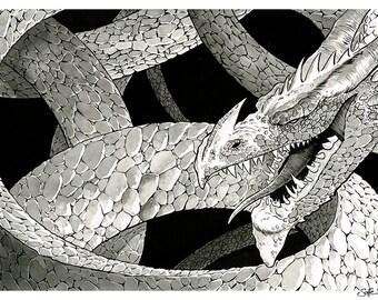 Jormungandr The World Serpent - original ink drawing