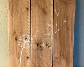 Rustic Pallet Sign, Dandelion Blowing in the Wind