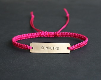 Songbird Sterling Silver or Brass and Macramé Bracelet, Choice Of Colours Available