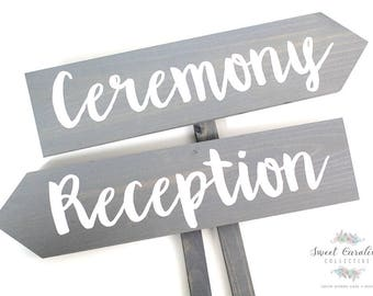 Ceremony and Reception Wooden Wedding Signs - WS-207
