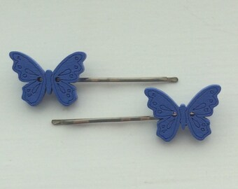 Pair of beautiful blue wooden butterfly hair slides/ kirby grips