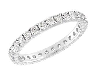 Diamond Eternity Wedding Ring, Eternity Wedding Band, 14K White Gold 0.90 Carat Certified Handmade