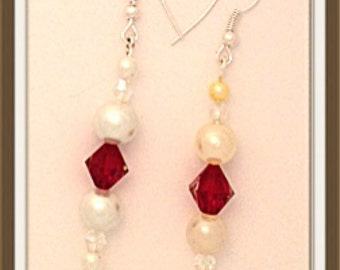 Handmade MWL long dangle pearl and red earrings. 0147