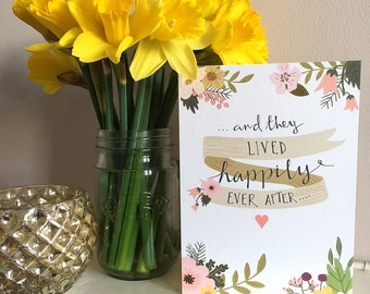 And they lived happily ever after wedding greetings card