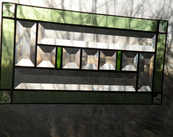 stained glass window panel  green/ beveled glass