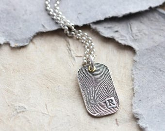 Inked Fingerprint Dog Tag Individual Pendant - Finger Print Jewelry - Fingerprint Keepsake - Dad Jewellery - Personalized Pendant