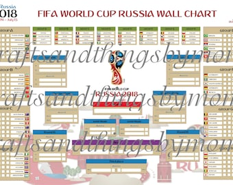 """2018 FIFA World Cup Russia Wall Chart Poster-Size 24""""x36"""" Downloadable DIGITAL File"""