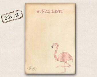 Notepad - Flamingo wish list