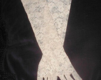 Vintage elbow-length Ivory Lace Gloves