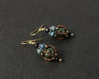 Enchanted forest beadwoven earrings in green