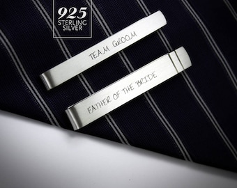 Wedding Tie Clips personalized, groom tie clip, father of the bride tie clip, sterling silver