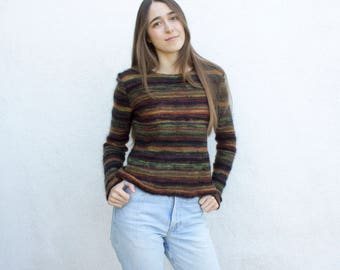 1980s Saks Fifth Avenue Missoni Striped Lightweight Sweater   Open Weave Fitted Pullover   Space Dyed Crewneck Sweater   Made in Italy