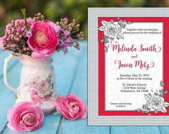 Hot Pink Rose Floral Wedding Invitation PRINTABLE / DIY