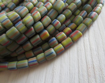 striped seed bead, Matte opaque green glass bead, Small spacer barrel tube, New indo-pacific 3 to 6mm /10 inches ,5Bb7-x