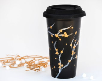 Silver and Gold Cherry Blossoms Travel mug - Hand Painted Black porcelain eco-cup -Chalkboard with Silicon lid