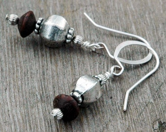 Wood and Silver Bead Earrings, Moorish Inspiration, Dark Brown African Beads, Pillow-Shaped Metal Bead, Hand Shaped & Hammered Earring Wires