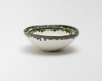 White Pinch Pot with  green rim